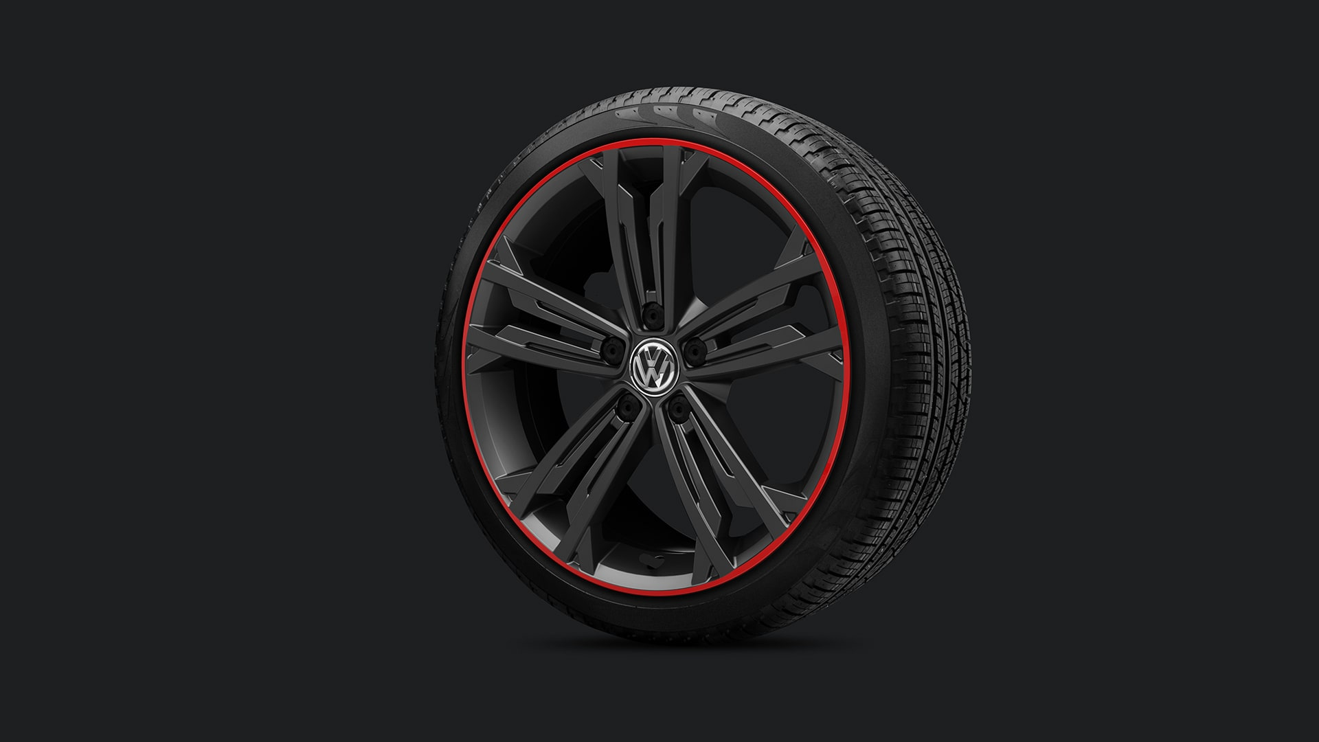 """18"""" Sevilla black alloy wheels with red rings"""